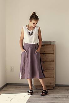 Sukne - Ľanová sukňa s vreckami - 11771822_