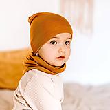 Detské čiapky - 100% merino ultratenký termo set horčica - 11771142_