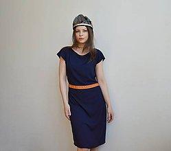 Šaty - Modré šaty s oranžovým detailom - 11770804_