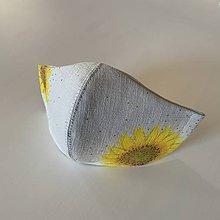 Rúška - Rúško (sivé, ľanové, 3-vrstvové)  (s maľovanými slnečnicami) - 11772704_