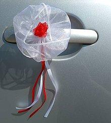 Dekorácie - Svadobné ozdoby na kľučky aút - 11773654_