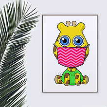 Grafika - Roztomilé zverky v rúšku(cik-cak rúško) grafika safari/džungľa - žirafa - 11771664_
