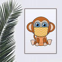 Grafika - Roztomilé zverky v rúšku(cik-cak rúško) grafika safari/džungľa - šimpanz - 11771678_