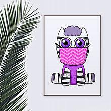Grafika - Roztomilé zverky v rúšku(cik-cak rúško) grafika safari/džungľa - zebra - 11771679_
