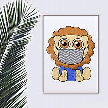 Grafika - Roztomilé zverky v rúšku(cik-cak rúško) grafika safari/džungľa - lev - 11771683_