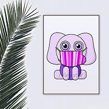 Grafika - Roztomilé zverky v rúšku(pásikavé) grafika safari/džungľa - slon - 11771690_