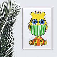 Grafika - Roztomilé zverky v rúšku(pásikavé) grafika safari/džungľa - žirafa - 11771694_