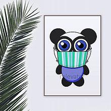 Grafika - Roztomilé zverky v rúšku(pásikavé) grafika safari/džungľa - panda - 11771703_