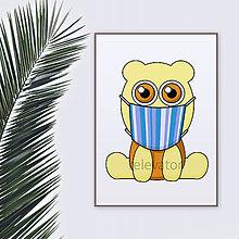 Grafika - Roztomilé zverky v rúšku(pásikavé) grafika safari/džungľa - hroch - 11771708_