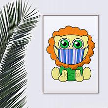Grafika - Roztomilé zverky v rúšku(pásikavé) grafika safari/džungľa - lev - 11771711_