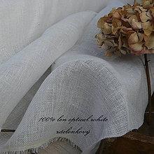 """Textil - NOVINKA 100% len """"záclonkový"""" BLANC - 11774547_"""
