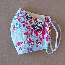 Rúška - Rúško dámske - Modré s kvetmi - 11775166_