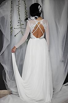 Šaty - Svadobné šaty elastické s dlhým rukávom a holým chrbátom - 11775811_