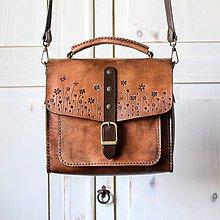 Kabelky - Kožená kabelka Floral satchel *Antique-tan* - 11775117_