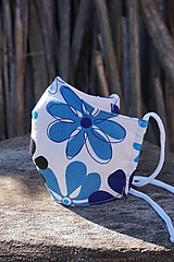 Rúško modré kvetované