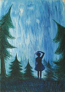Obrazy - V lese, akvarelová maľba na plátne - 11775474_
