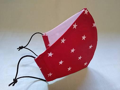 Dizajnové rúško červené hviezda tvarované dvojvrstvové
