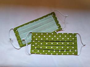 Rúška - Rúško zelená bodka jednovrstvové/dvojvrstvové - 11781289_