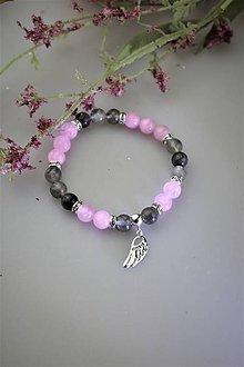 Náramky - luxusný náramok dymový krištál a ružový jadeit s anjelským krídlom zo striebra - 11781122_