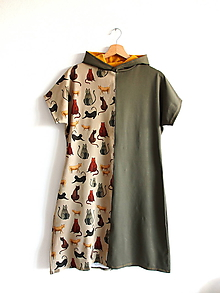 Šaty - Úpletové šaty s kapucňou mačky - 11781023_