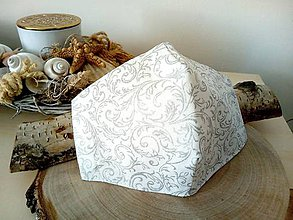 Rúška - Diazajnové bavlnené rúško dvojvrstvové - strieborný ornament - 11779789_