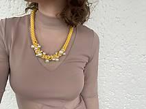 Náhrdelníky - Žlutý náhrdelník pošitý perlami - 11780665_