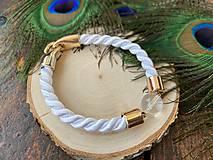 Náramky - Bílý náramek s křišťálem - 11781142_