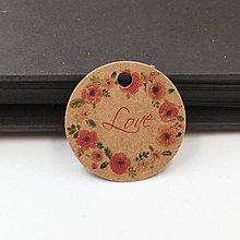 Papier - VI134 Visačka okrúhla Love 3 cm - 11781281_