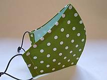 Rúška - Rúško zelená bodka tvarované dvojvrstvové - 11783451_
