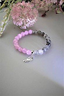 Náramky - náramok krištál-dymový,ružový jadeit s anjelským krídlom zo striebra - 11782510_
