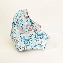 Rúška - *NOVÝ EŠTE LEPŠÍ STRIH* exkluzívne dvojvrstvové rúško 100 % bavlna/úplet, Modrá záhrada - 11782635_