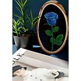 Modrá ruža - maľba na drevo