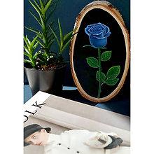 Obrazy - Modrá ruža - maľba na drevo - 11782461_