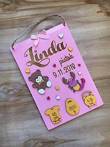 Dekorácie - Tabuľka pre bábätko, novorodeniatko s údajmi o narodení dievčatko 9 - 11786231_