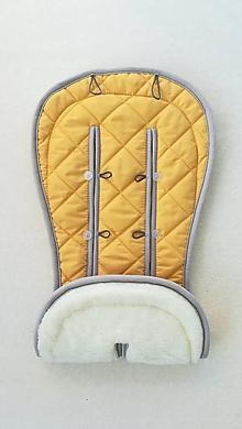 Textil - MERINO podložka do kočíka BUGABOO Bee / Buffalo/ Cameleon/ Donkey/ Joolz 100% WOOL Seat Liner Mustard Yellow horčicová - 11785478_