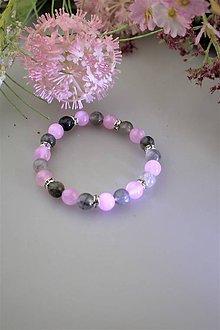Náramky - krištál-dymový,ružový jadeit náramok - 11786184_