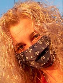 Rúška - Ochranné rúško dvojvrstvové s drôtikom na nos a náhradnými gumičkami - modrotlač II.skladom - 11787711_
