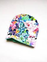 Čiapky, čelenky, klobúky - Dvojvrstvová čiapka pestrofarebné kvety - 11786913_