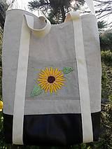 Veľké tašky - Ľanová taška s ručnou výšivkou - 11787089_