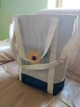 Veľké tašky - Ľanová taška s ručnou výšivkou - 11787091_