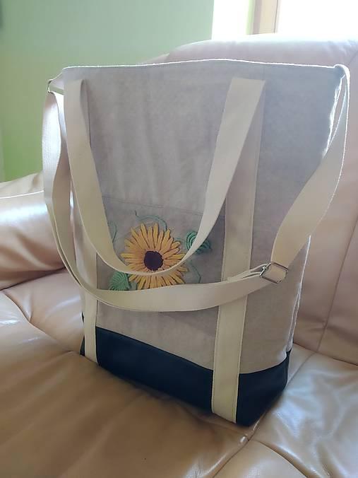 Ľanová taška s ručnou výšivkou