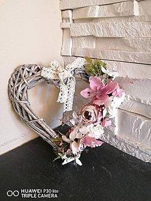 Dekorácie - Vintage srdce ružovo-smotanové 20cm - 11786493_