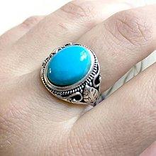 Prstene - Floral Turquoise Ring / Elegantný vintage prsteň s pravým tyrkysom - 11789568_