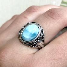 Prstene - Floral Larimar Ring / Elegantný vintage prsteň s larimarom - 11789599_