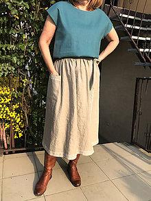 Sukne - Ľanová sukňa v prírodnej farbe - 11792286_