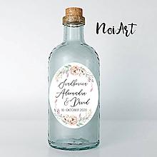 Darčeky pre svadobčanov - Nálepky na svadobné fľaše ružičky 2 - 11792176_