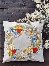 Úžitkový textil - Vankúš ručne maľovaný - letný veniec - 11791137_