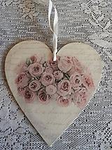 Dekorácie - Dekorační srdíčko Roses - 11791811_