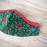 Rúška - Dámske tvarovateľné rúško - po bradu, s postriebreným drôtikom, zelená a melónová, kvietky - 11788817_