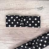 Ozdoby do vlasov - Elastická čelenka bodkovaná, biele bodky, čierna, retro - 11789534_